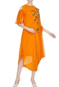 sunrise-orange-georgette-sequin-embroidered-draped-dress
