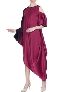 magenta-satin-draped-style-dress