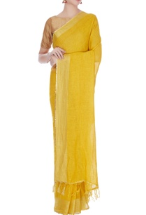 mango-yellow-linen-zari-work-saree