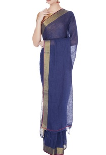navy-blue-linen-zari-work-saree