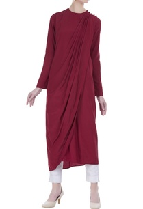 draped-kurta-with-asymmetrical-hemline