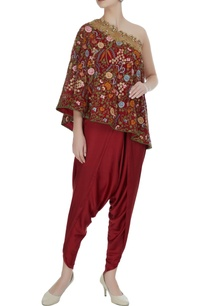 off-shoulder-floral-embroidered-cape-with-draped-pants