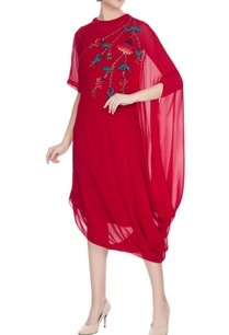 red-georgette-floral-embroidered-drape-dress