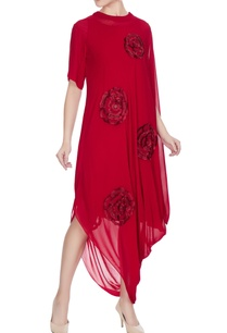 red-georgette-cowl-draped-style-dress