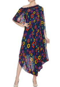 multicolored-georgette-floral-printed-draped-dress