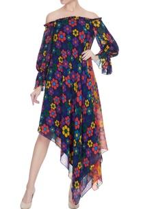 multicolored-georgette-floral-printed-off-shoulder-dress