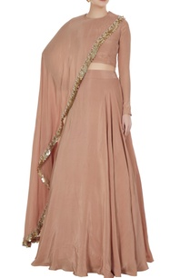 champagne-beige-crepe-silk-cape-blouse-with-lehenga