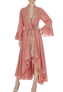 pink-jacket-with-ivory-crop-top-and-dhoti-pants