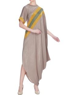 beige-satin-draped-dress-with-yellow-stripe-detail