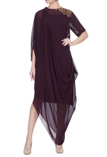 eggplant-georgette-draped-style-dress
