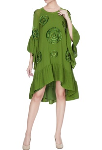 lime-green-georgette-embroidered-frilly-detail-summer-dress