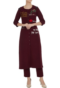 statement-slogan-embroidered-kurta-set