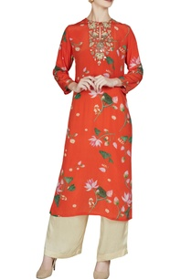 red-floral-printed-keyhole-neckline-kurta-with-pants