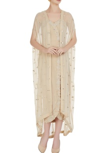 ivory-wrap-style-spaghetti-strap-dress-with-front-open-cape