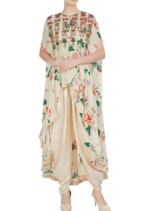 cream-floral-bead-embroidered-mirror-work-cape-with-dhoti-pants