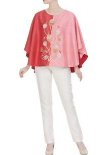 red-pink-raw-silk-embroidered-cape