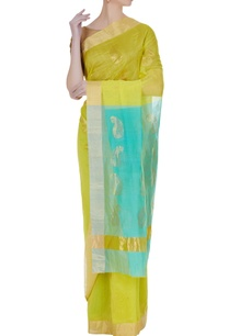 lemon-yellow-pure-chanderi-sari-with-unstitched-blouse