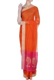 orange-pure-chanderi-sari-with-unstitched-blouse