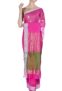 pink-pure-chanderi-sari-with-unstitched-blouse