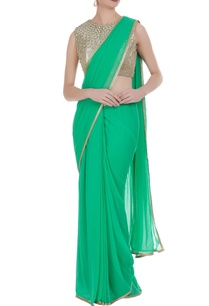 green-embroidered-pre-draped-saree-with-gold-sequin-blouse