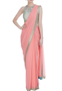 bubble-gum-georgette-pre-stitched-saree-with-mint-green-dupion-embellished-blouse