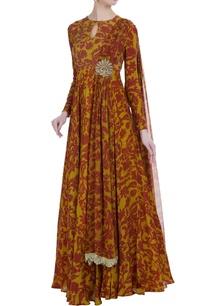 yellow-maroon-raw-satin-silk-meenakshi-printed-anarkali-with-stitched-dupatta