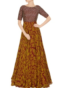 maroon-sequins-embroidered-digital-print-dress
