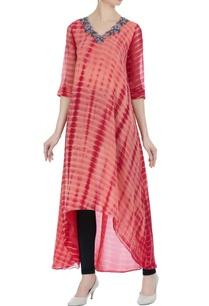 peach-tie-dye-embroidered-asymmetric-kurti