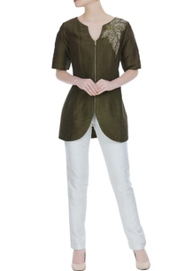 military-green-raw-silk-zipper-style-jacket