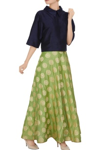 green-brocade-long-skirt
