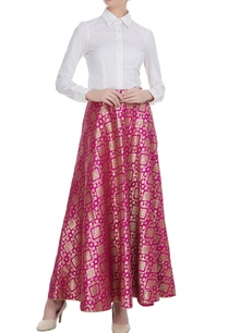 pink-brocade-georgette-flared-maxi-skirt