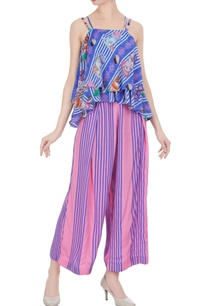 blue-crepe-english-tea-party-blouse-with-pink-pleated-trousers