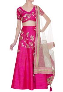 hot-pink-raw-silk-embroidered-lehenga-set