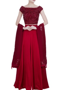 maroon-satin-flared-lehenga-with-sequin-net-blouse-dupatta