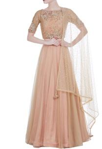 gold-glass-nylon-lehenga-with-lace-blouse-net-dupatta