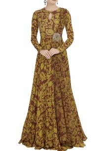 mustard-maroon-chiffon-crepe-silk-draped-style-gown