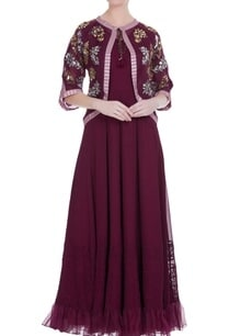 maroon-solid-maxi-dress-with-mirror-work-cape