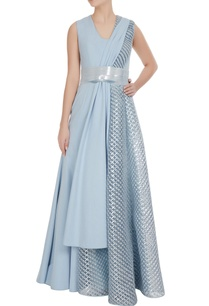 icy-blue-flared-luxury-crepe-gown-with-draped-layer