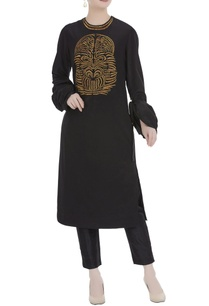 black-pure-crepe-silk-kurta