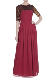 red-silk-georgette-sequin-embroidered-gown