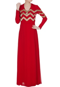 red-silk-georgette-sequin-gown