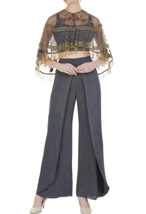 grey-hand-embroidered-cape-with-georgette-pants-crop-top