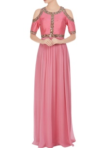 pink-embellished-cold-shoulder-gown