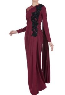 wine-net-layered-saree-gown