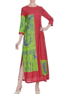 pink-green-egyptian-printed-maxi-dress