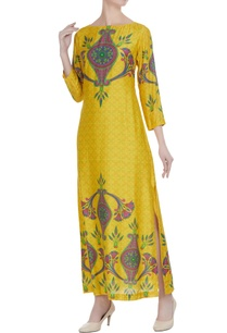 yellow-printed-maxi-dress-with-side-slit