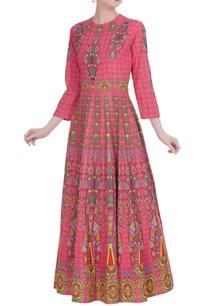 pink-khadi-cotton-maxi-pleated-kalidar-kurta