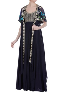 black-chiffon-gown-with-floral-embroidered-cape