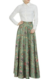 olive-green-dupion-printed-long-skirt