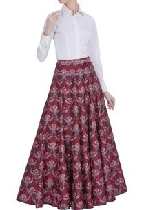 red-embellished-flared-long-skirt